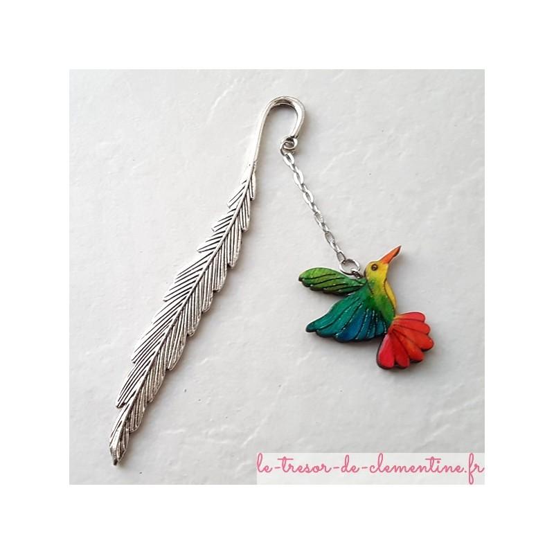 Marque-page oiseau Colibri multicolore ce bijou de livre accompagnera vos lectures