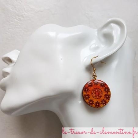 Boucles d'oreille fantaisie orange soleil et fleurs