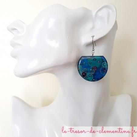 Boucles d'oreilles pendantes femme argent et bulles bleues
