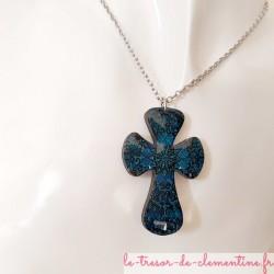 Pendentif collier Croix baroque bleue avec chaîne argent, bijou artisanal signé