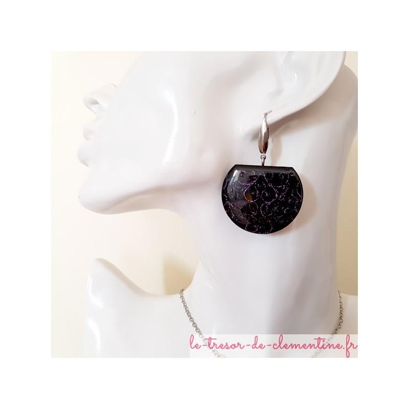 Boucle d'oreille femme fantaisie noir et violet scintillant, style médiéval, bijou fantaisie signé