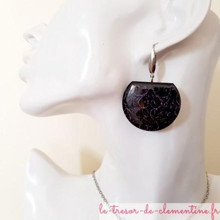 Boucle d'oreille femme fantaisie noir et violet scintillant