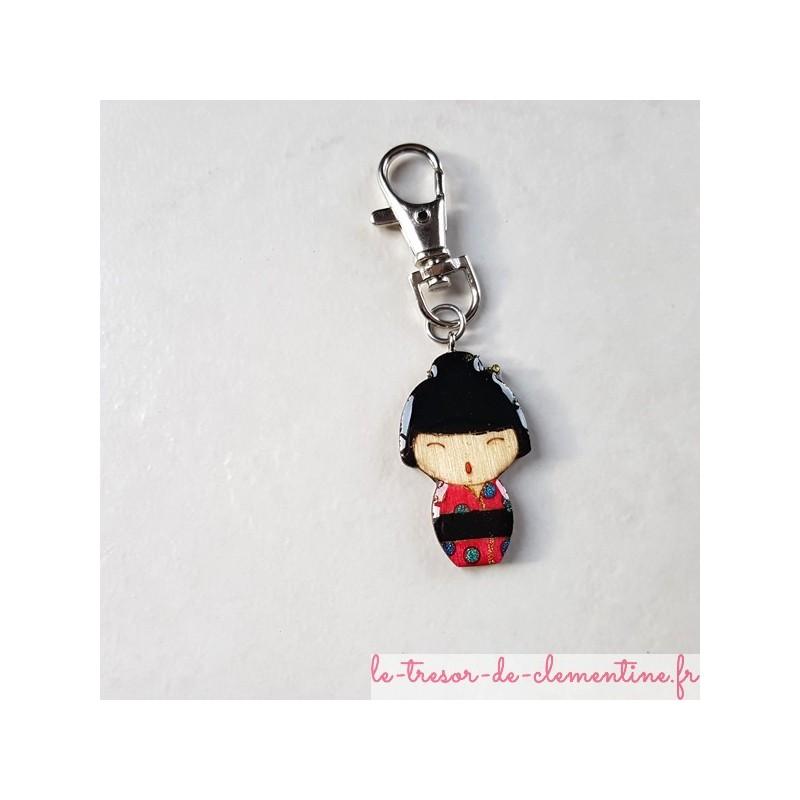Accroche-sac à main ou sac à dos poupée japonaise rouge et ronds