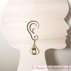 Boucles d'oreille Bécassine création artisanale signée au dos