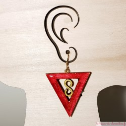 Boucle d'oreille femme triangle infini rose
