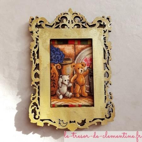Cadre photo baroque doré déco amovible 2 oursons