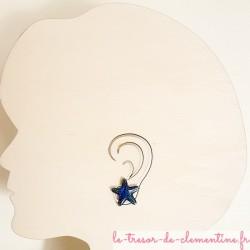 Bouton d'oreille étoile de mer turquoise création artisanale française façon émail