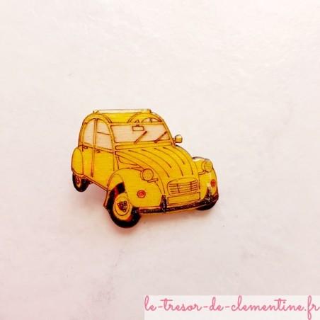 Broche 2 cv jaune (voiture mythique)