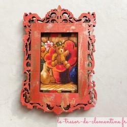 Cadre photo baroque rouge et doré déco amovible avec ours