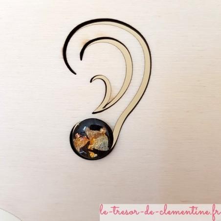 Bouton d'oreille fantaisie noir pailleté métal