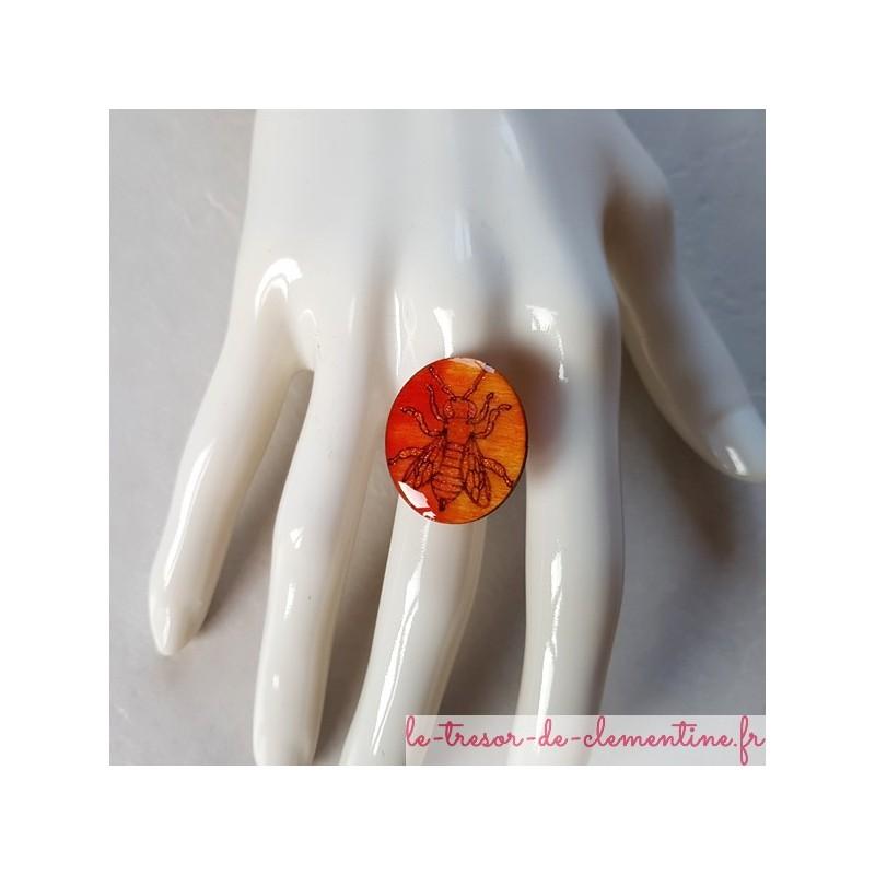 Bague pour femmes abeille orange, bijou bague pour femmes taille réglable support laiton plaqué argent