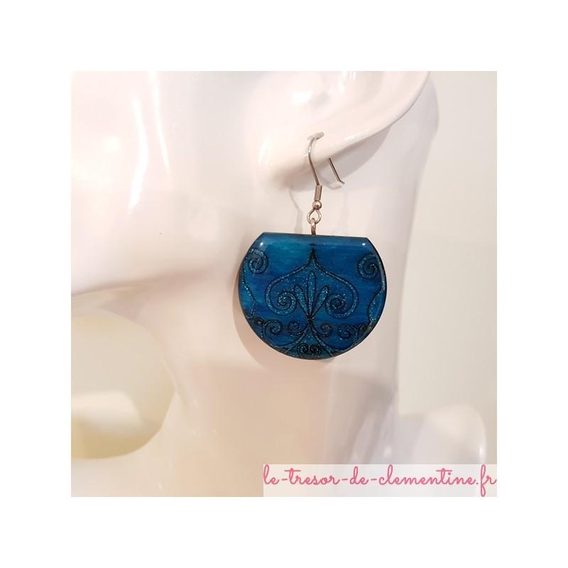 Boucles d'oreilles pendantes médiévale turquoise, modèle unique, monture acier inoxydable