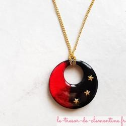 Collier artisanal rouge et noir chaîne dorée collier biface original