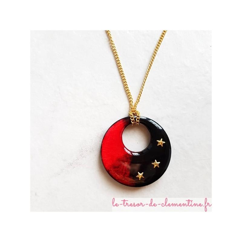 lowest price 100% high quality better Collier artisanal rouge et noir chaîne dorée bi-face