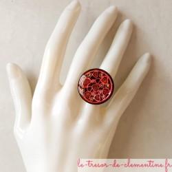 Bague artisanale coeur noir à rouge, créé par Clémentine Artisan d'art