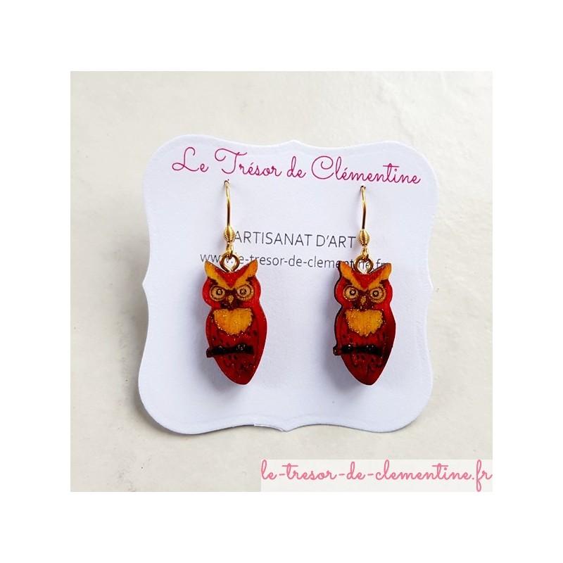 Boucles d'oreilles originale  forme chouette rouge et or