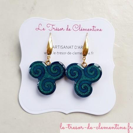 Boucles d'oreilles fantaisie triskel turquoise