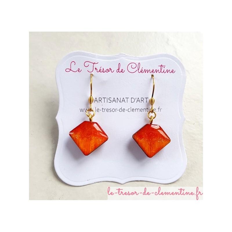Pendants d'oreille berlingot tons orange et feu décor à la main artisanat d'art