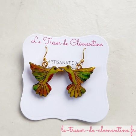 Boucles d'oreilles fantaisie oiseau colibri vert et feu