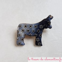 Broche âne Baudet du Poitou gris, bijou fantaisie artisanal