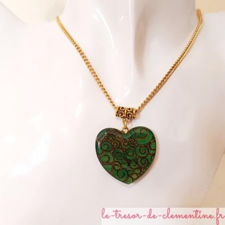 Collier coeur pendentif femme vert et or