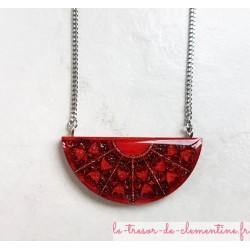 collier femme pendentif baroque rouge