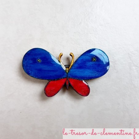 Magnet de collection papillon bleu rose