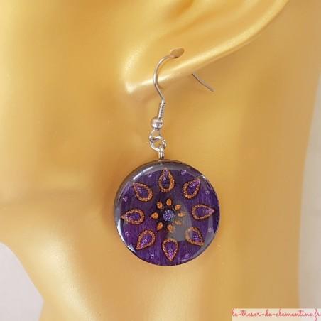 Boucle d'oreille artisanale soleil fleur violet