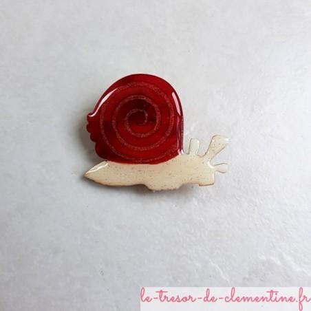 Broche artisanale escargot à spirale rouge et blanc