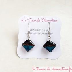 Boucles d'oreilles fantaisie berlingot bleu et scintillant, bijou fantaisie personnalisation possible