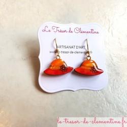 Boucle d'oreille artisanale petit orange et rouge modèle unique aspect émail
