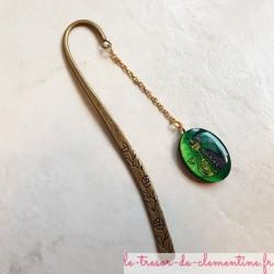 Marque-page décor de lichats tons vert or et violet artisanat d'art fabrication française