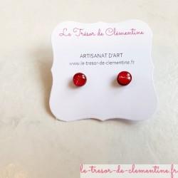 Petit bouton d'oreille, puce d'oreille ronde rouge modèle unique