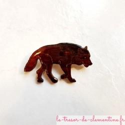 Broche artisanale loup marron brun modèle unique