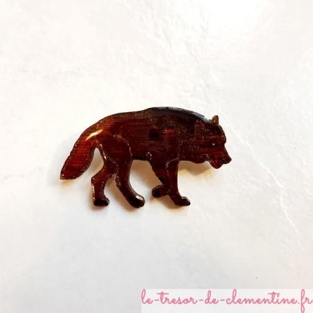 Broche artisanale loup marron brun