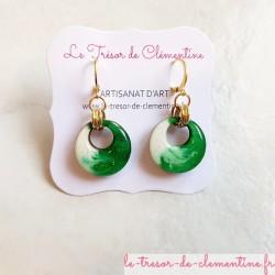 Boucle d'oreille chic ronde vert et blanc modèle unique