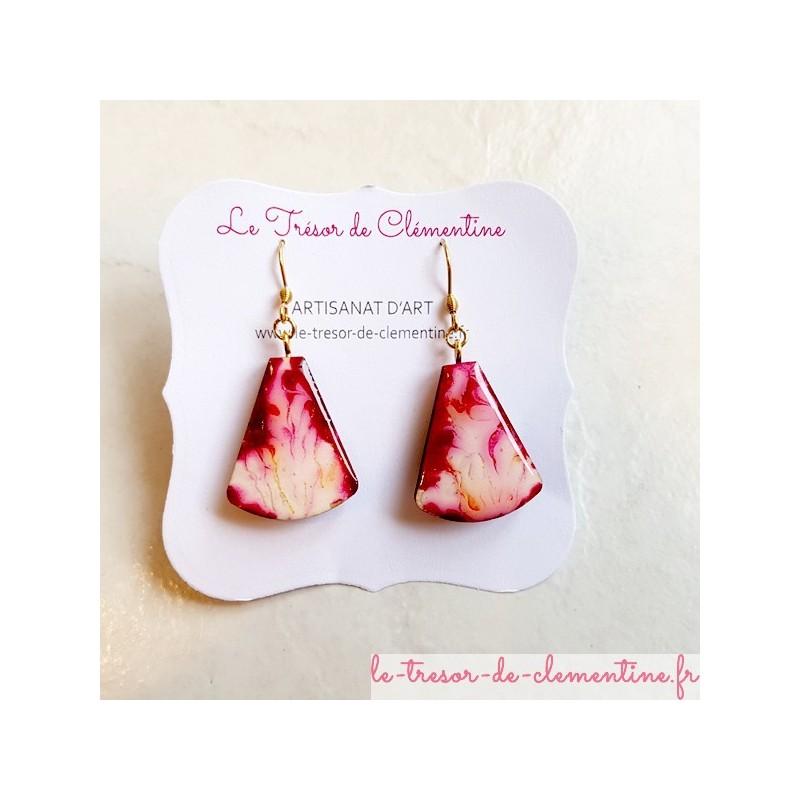 Boucle d'oreille femme rouge blanc triangle tronqué modèle unique artisanat d'art