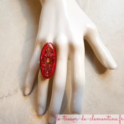 Bague originale longue ovale médiévale tons rose