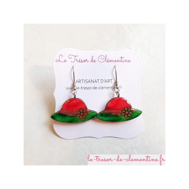Boucle d'oreille artisanale petit rouge et vert modèle unique