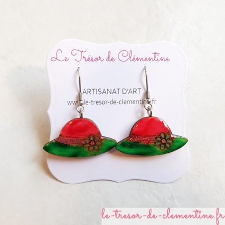 Boucle d'oreille artisanale petit rouge et vert