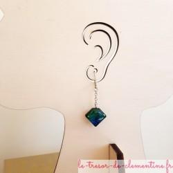 Boucles d'oreilles fantaisie berlingot bleu à turquoise scintillant