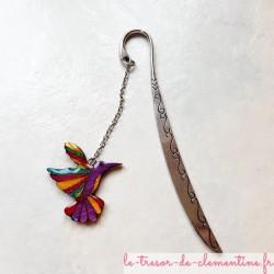 Marque-page oiseau Colibri multicolore bijou de livre aspect émail