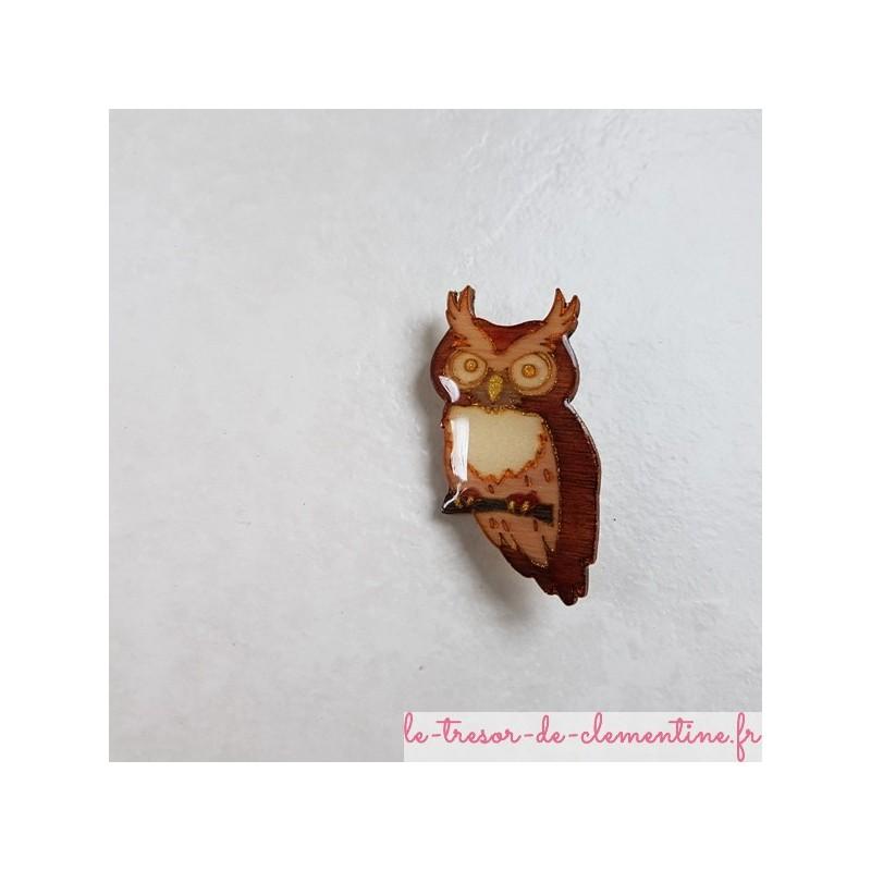 Broche chouette tons marron et or fabrication artisanale