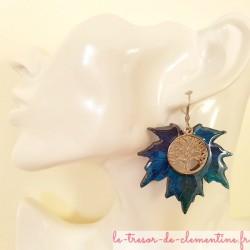 Grande Boucle d'oreille arbre de vie feuille érable tons bleu à turquoise, existe en 3 tailles autres coloris