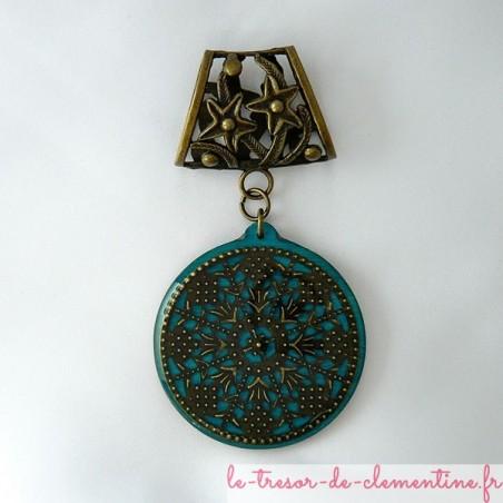 Bélière de foulard décor baroque turquoise rond