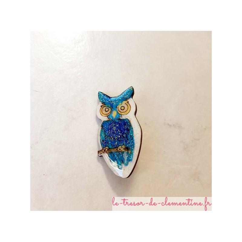 Broche hibou chouette turquoise blanc et pailleté or fabrication artisanale