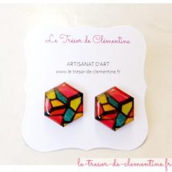 Bouton d'oreille boucle d'oreille femme vitrail multicolore chic
