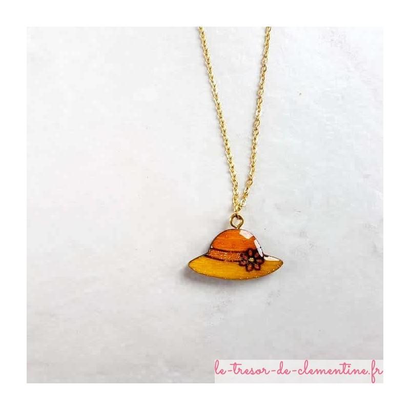 Collier fantaisie chapeau orange  et doré