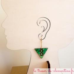 Boucle d'oreille originale infini vert et or