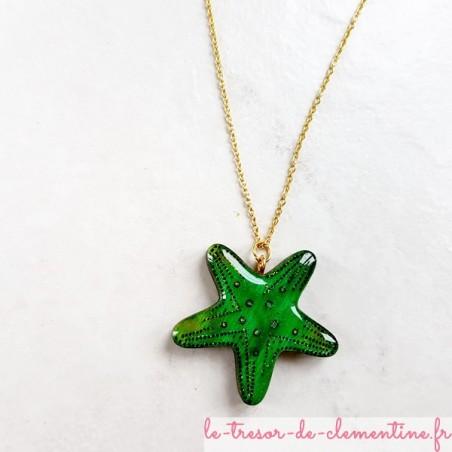 Collier étoile de mer verte sur chaîne dorée fabrication artisanale